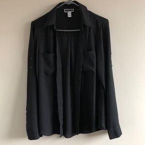 ❤️5/40❤️ black sheer button up blouse